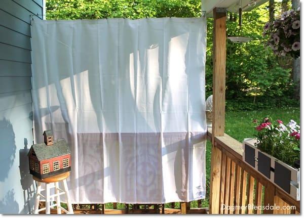 DIY porch curtain, outdoor curtains, DagmarBleasdale.com