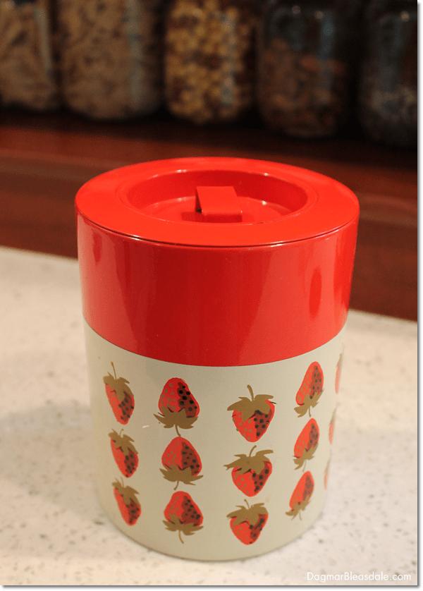vintage strawberry canister, DagmarBleasdale.com
