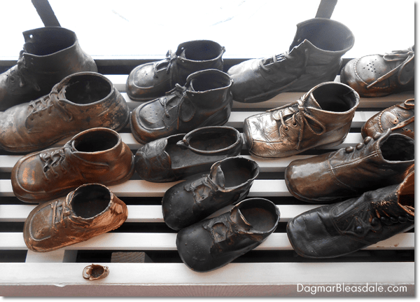 Antique collections, antique bronzed baby shoes, DagmarBleasdale.com