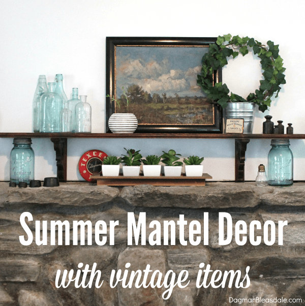 summer mantel vintage decor