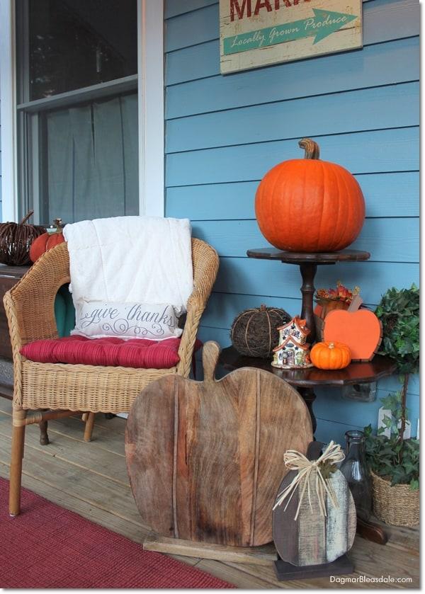 Blue Cottage Fall Home Tour, porch decor