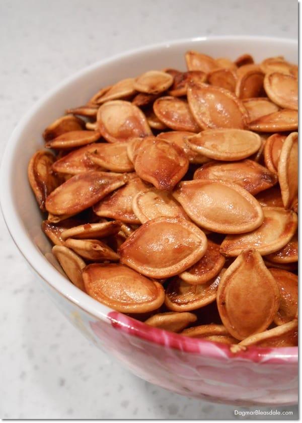 Roasted Pumpkin Seeds, Salty Honey Roasted Pumpkin Seeds, DagmarBleasdale.com