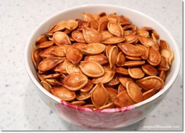 Roasted Pumpkin Seeds recipe, Salty Honey Roasted Pumpkin Seeds, DagmarBleasdale.com