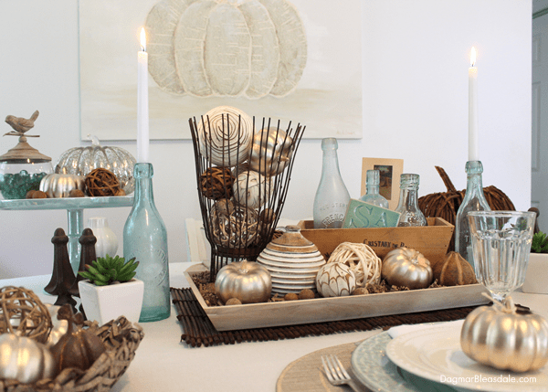 Coastal Fall Tablescape With Blue and Gold Accents