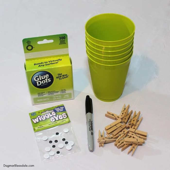 DIY Frankenstein Cup supplies