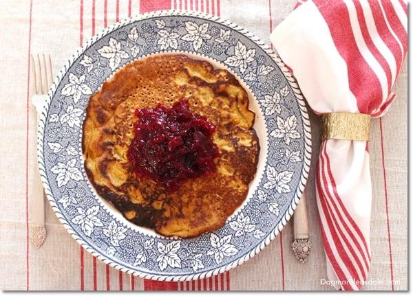 pumpkin pancakes with cranberry sauce