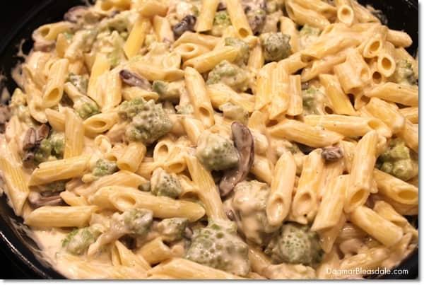Gluten Free Pasta Recipe: Broccoflower and Mushroom Pasta With Gruyere Sauce