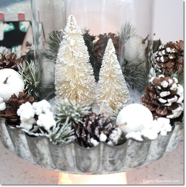 DIY Pie Tin and Bottle Brush Tree Centerpiece