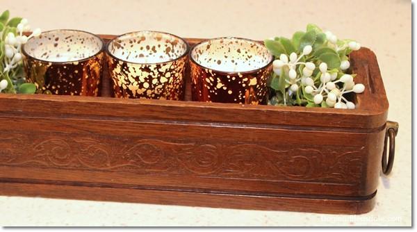 candles in vintage sewing machine drawer, DagmarBleasdale.com