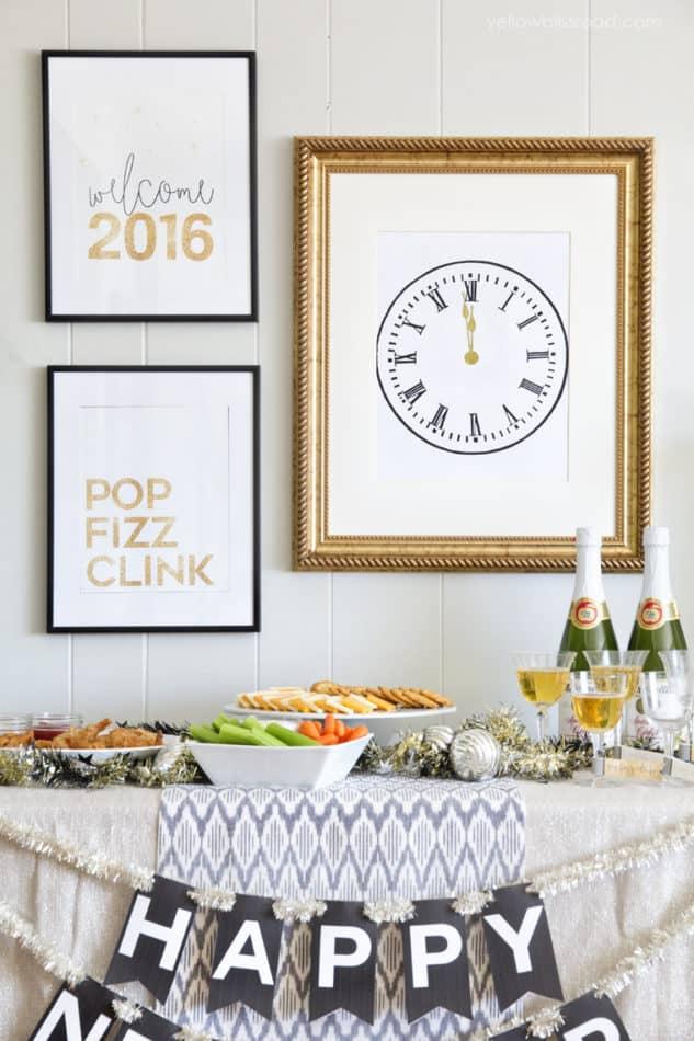 New Year's clock printable