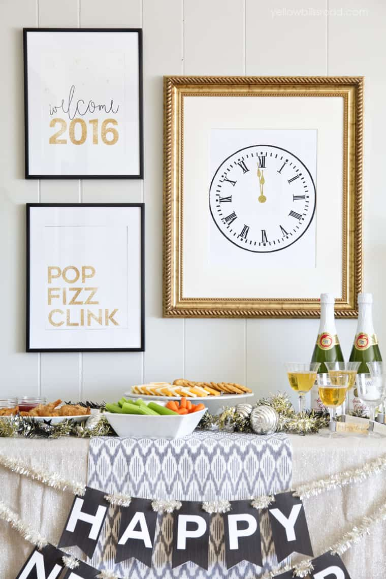 New Year's clock printable