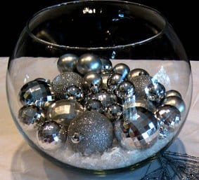 Silver Centerpiece with Ornaments in fish bowl