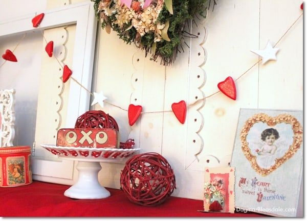 Valentine S Day Mantel Decor In The Blue Cottage