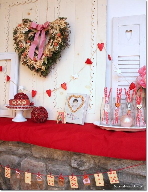 Valentine's Day mantel decor