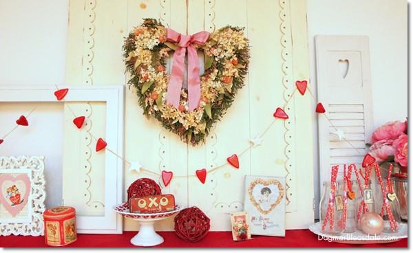Valentine's Day mantel, DagmarBleasdale.com
