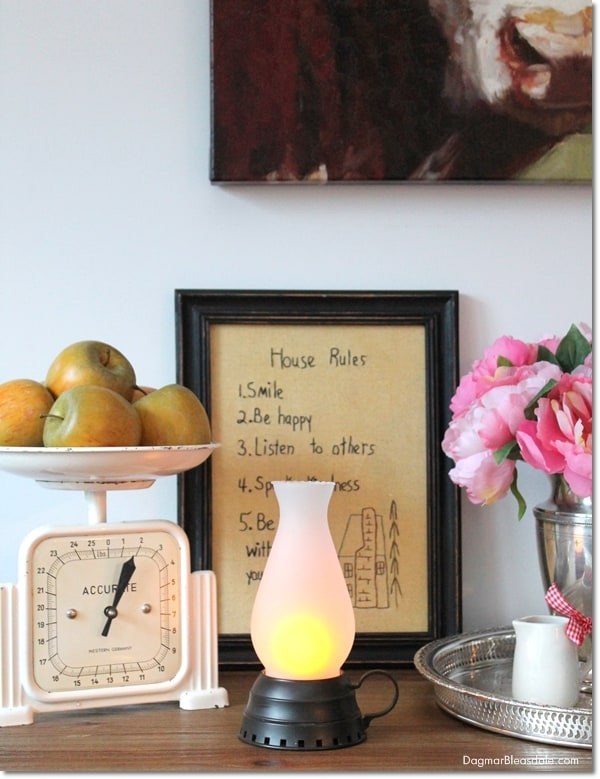 """Thrifty & Vintage Finds"" Link Party 111 – Vintage Hurricane Lamp"