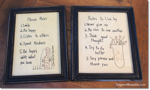 house rules Primitive Stitchery Picture