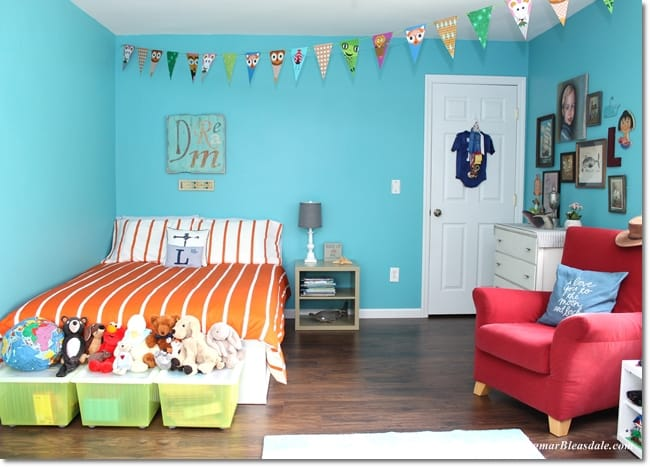 IKEA Bedroom Makeover of Turquoise Boy Bedroom