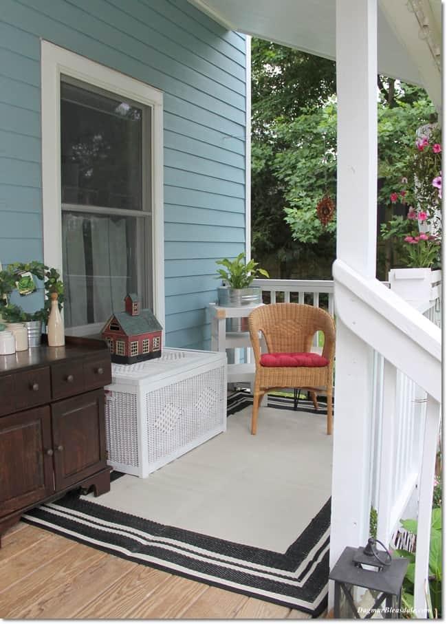 vintage cooler on Blue Cottage porch, DagmarBleasdale.com