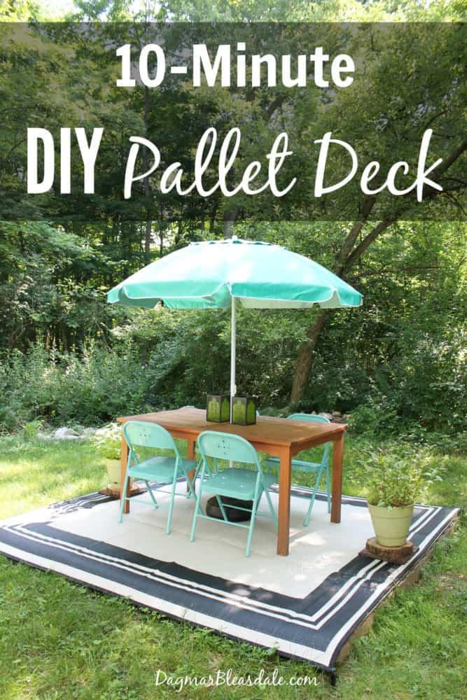 DIY pallet deck that took 10 minutes to built! DagmarBleasdale.com