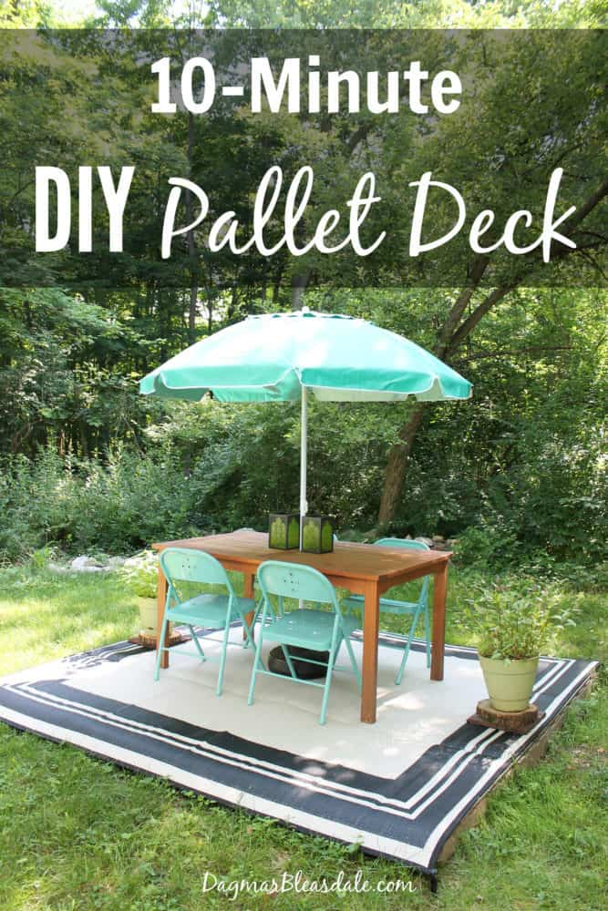 DIY pallet deck made with 4 free pallets
