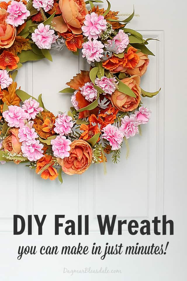 DIY fall wreath on white dront door