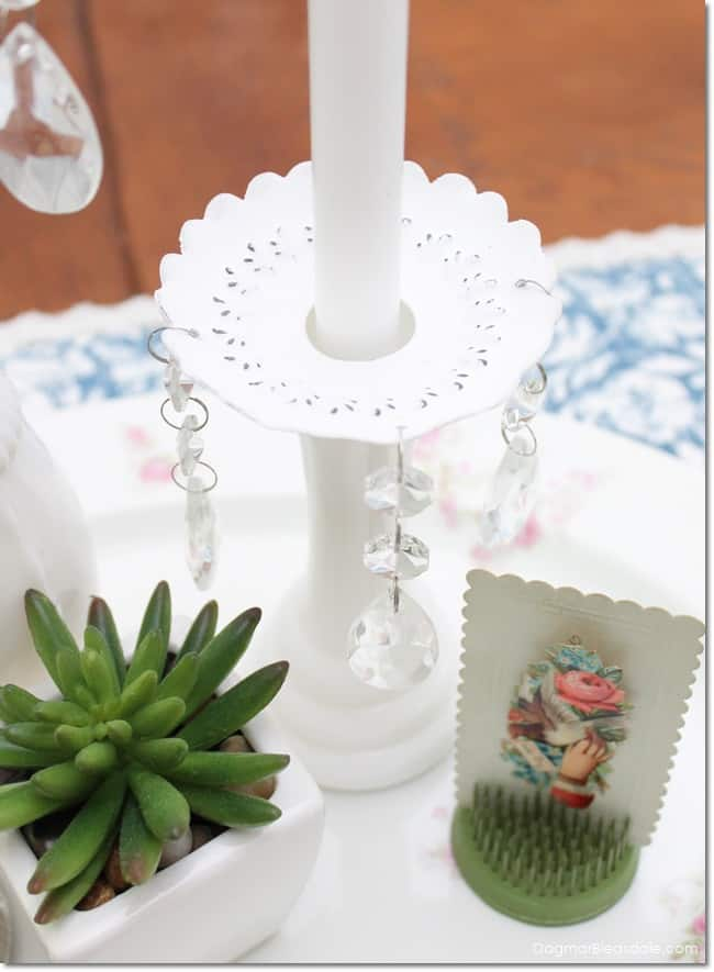 shabby chic candle wax catcher