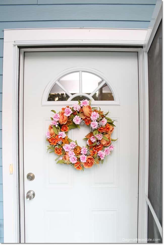 DIY fall wreath on front door