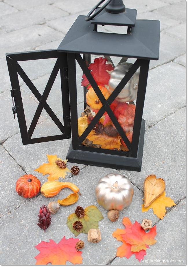 lantern with fall decor, DagmarBleasdale.com