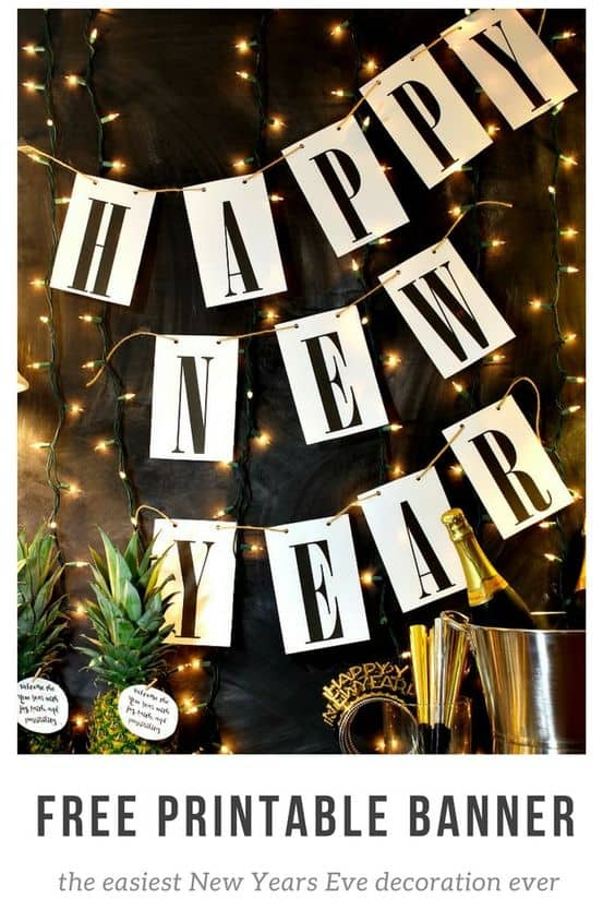 happy new year free printable banner 2020