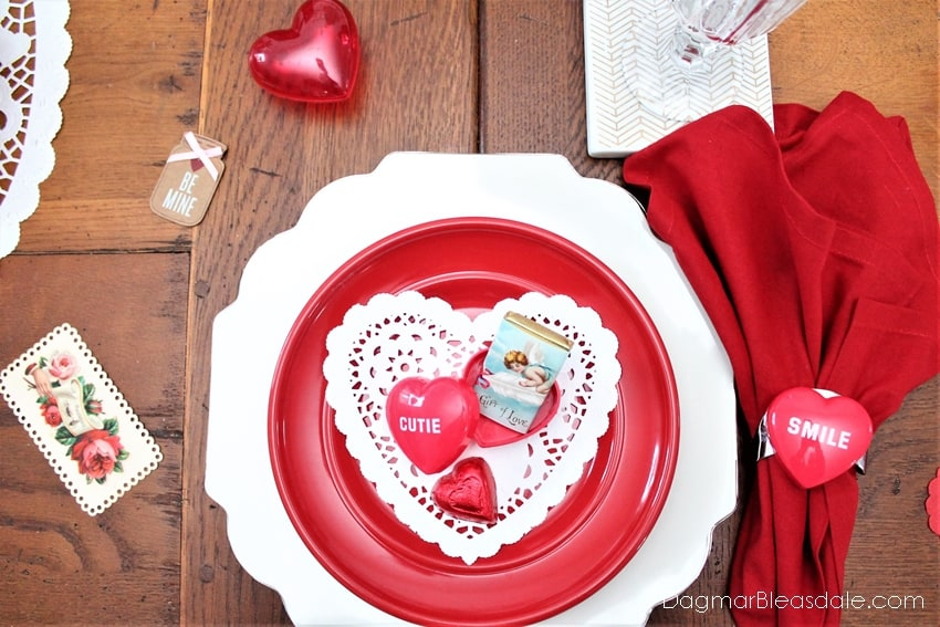 Valentine's Day Tablescape with doilies, DagmarBleasdale.com