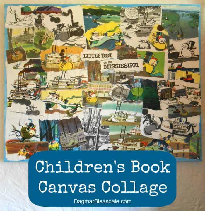 Children's Book Collage on Canvas, Easy DIY Wall Art, DagmarBleasdale.com