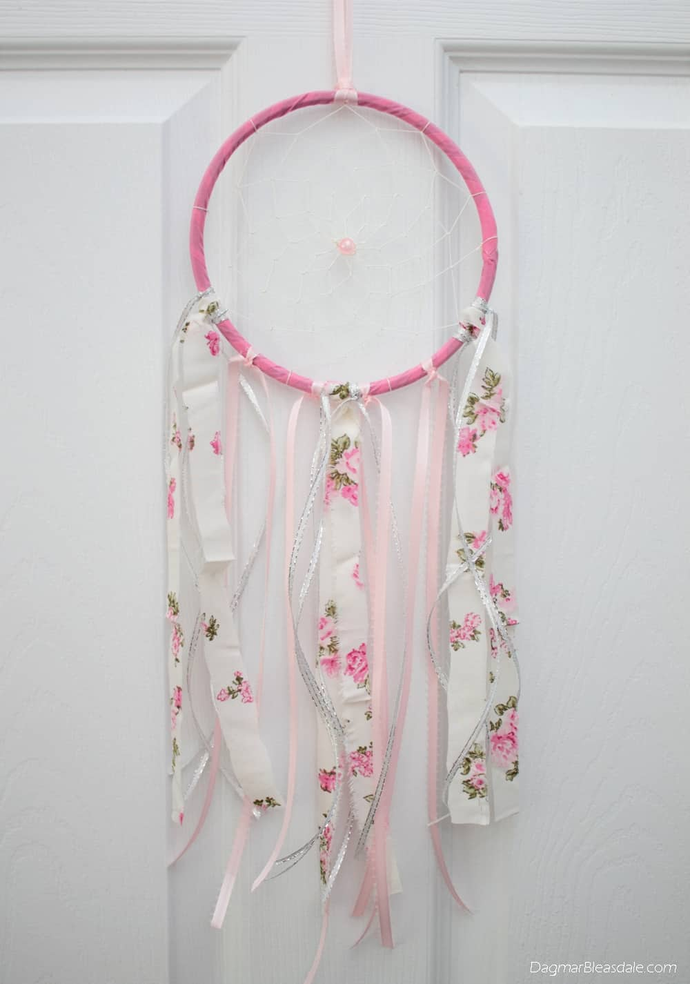 DIY dreamcatcher with lace, embroidry hoop, and ribbons,
