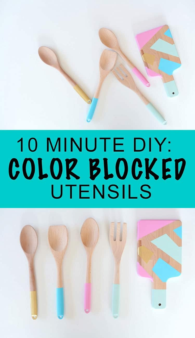 Bright Color Blocked Utensils, a simple DIY project for the rainy days of springtime.