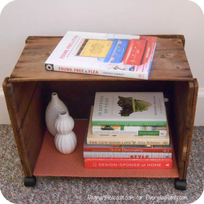 wooden crate side table with casters