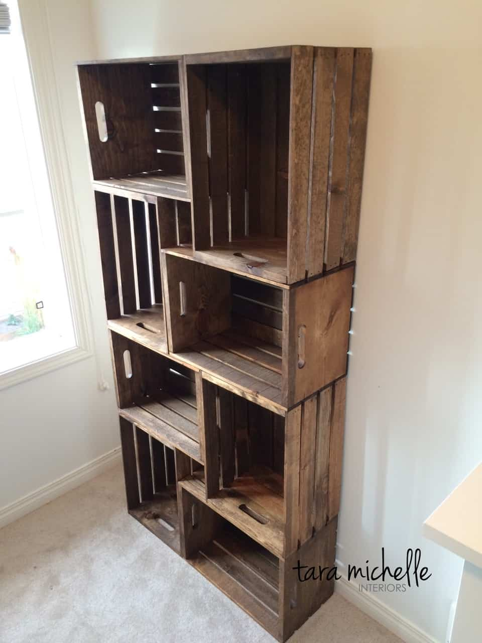 wooden crates book shelf