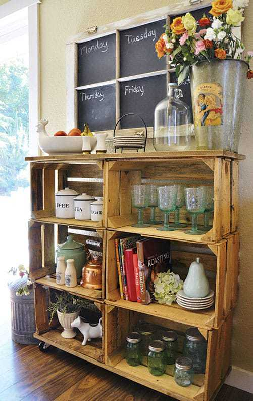 wooden crates shelf