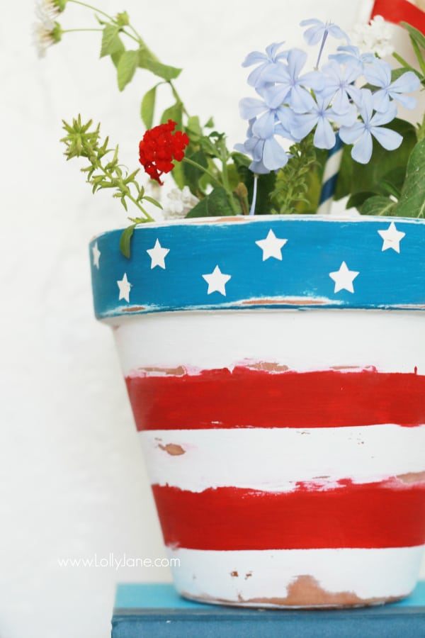 patriotic DIY decor, flower pot