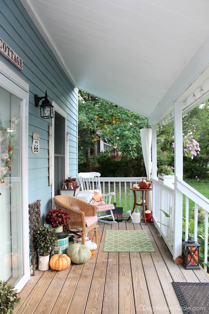Blue Cottage porch decorated for fall