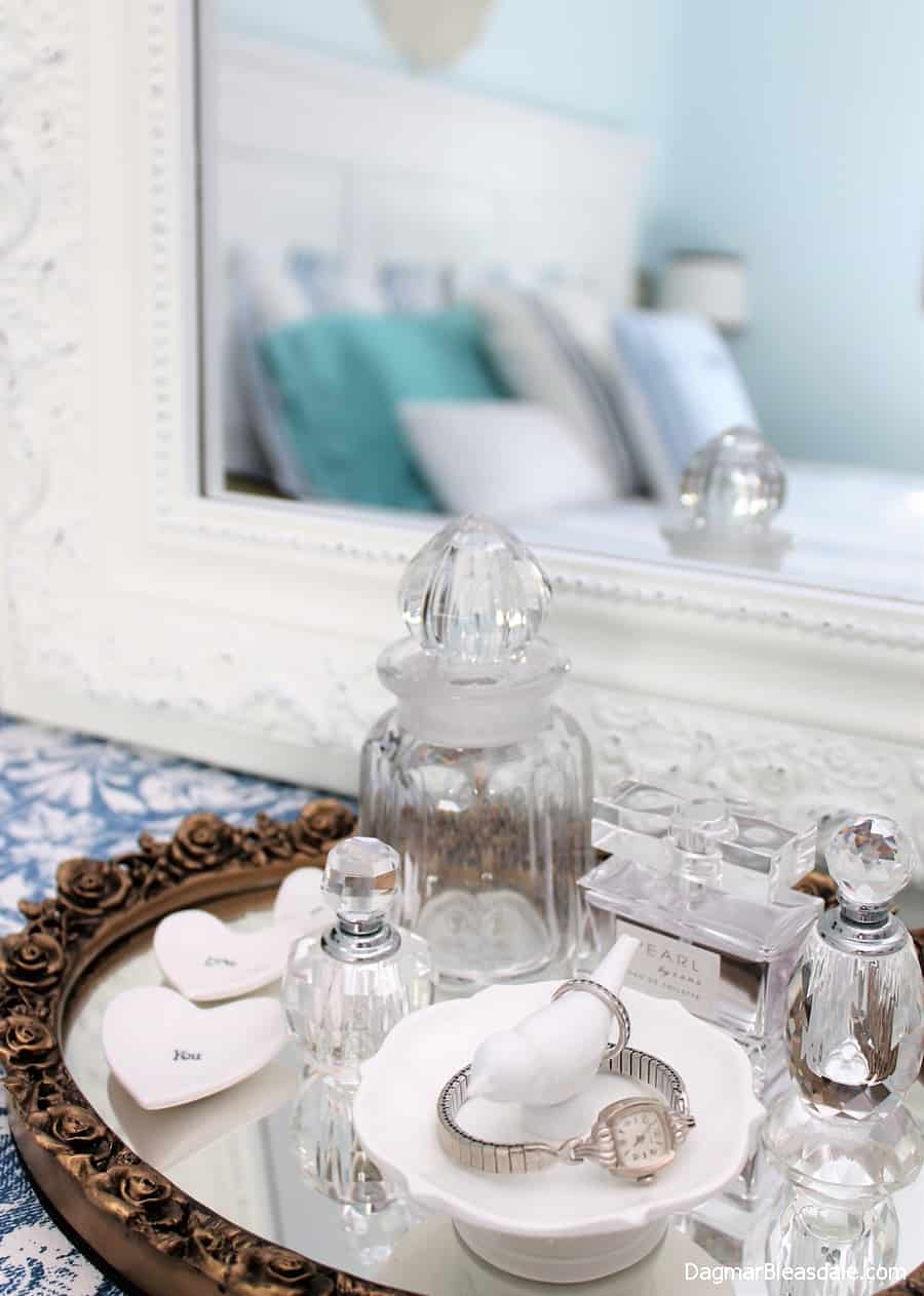 mirror tray with vintage bottles