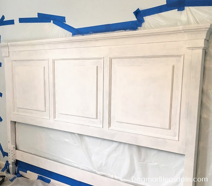 Headboard Makeover from black to white
