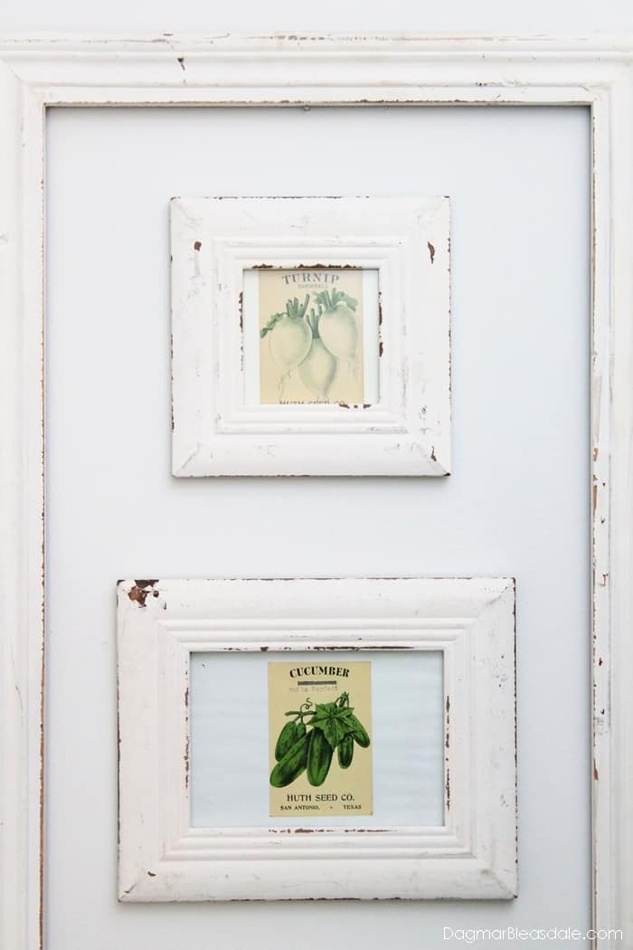 Vintage Seed Packets Decor, Framed vintage seed packet