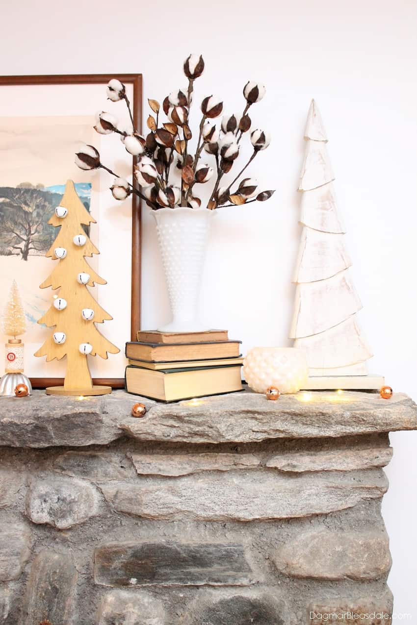 Neutral Christmas mantel decor