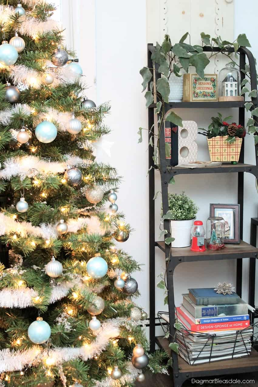 Blue and metallic Christmas tree decor, Blue Cottage Christmas Home Tour