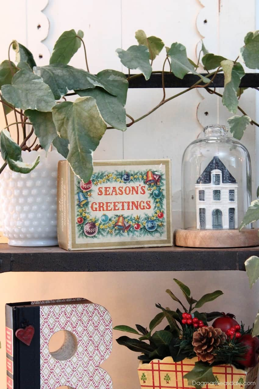 Blue Cottage Christmas Home Tour with vintage decor, Season's Greetings box