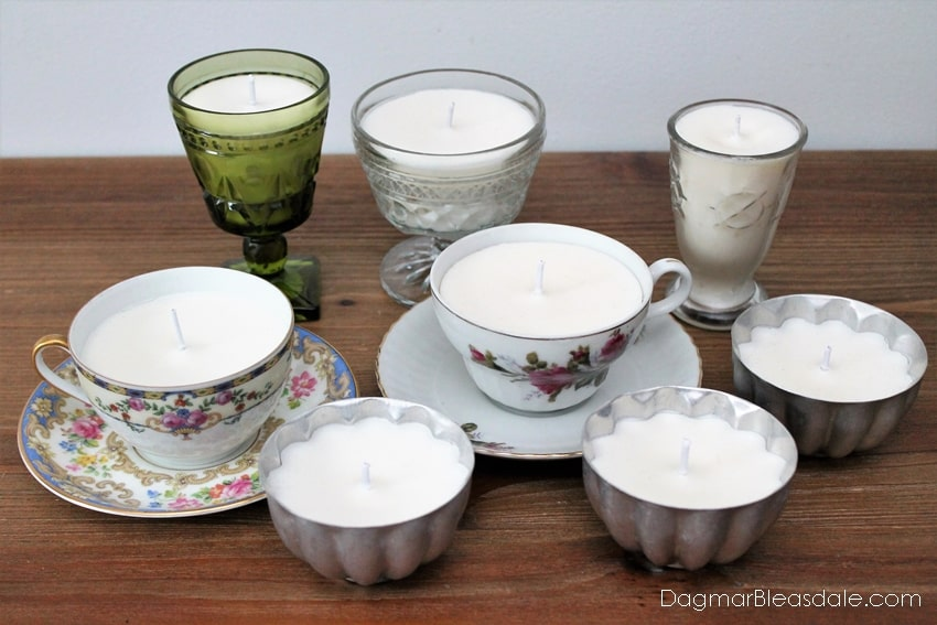 Candle making at home in teacups, glasses, jello molds. DagmarBleasdale.com