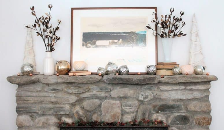 Mantel Decor With Mercury Glass Ornaments & Link Party #197