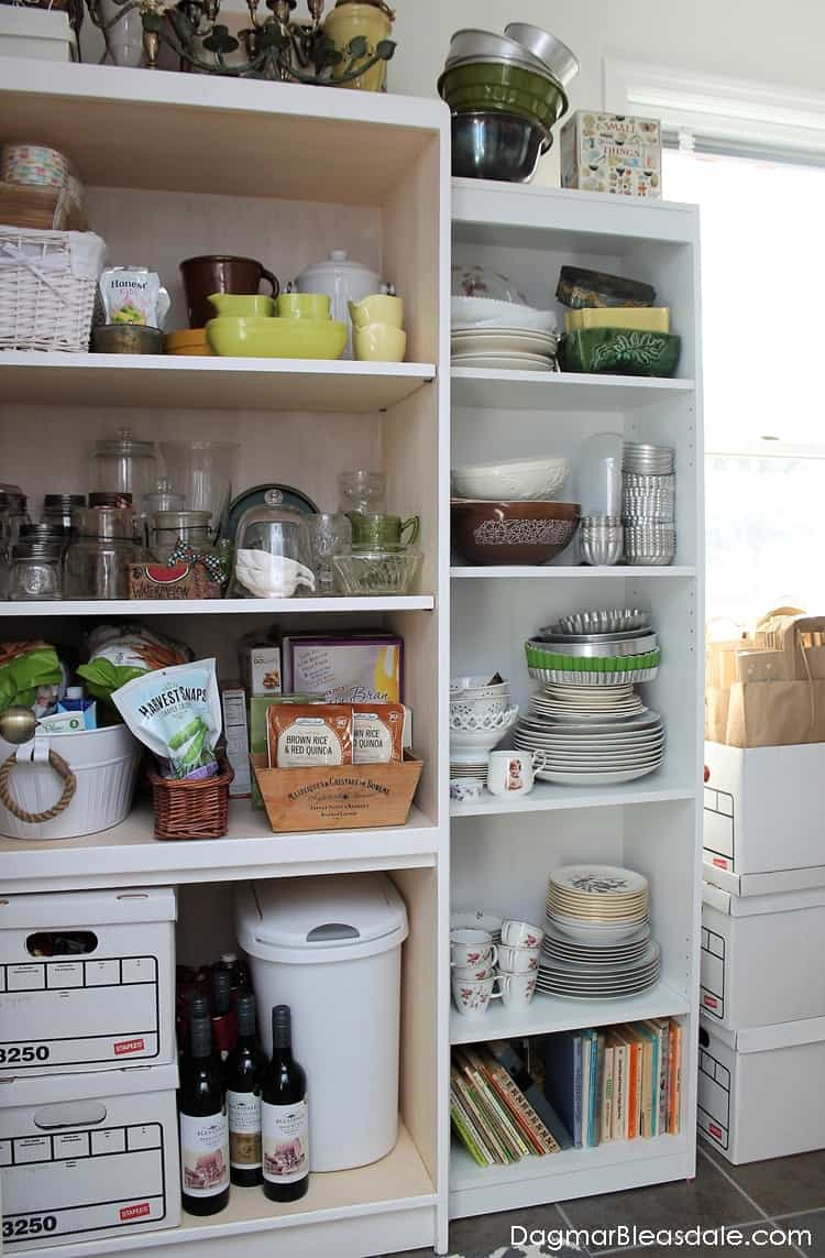 Add Extra Pantry Storage Space, White bookcase storage in pantry