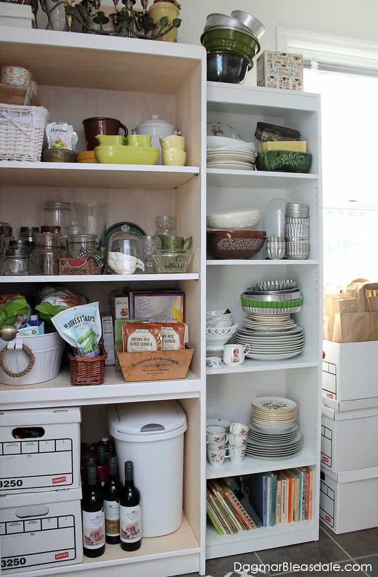 White bookcase storage in pantry, DagmarBleasdale.com