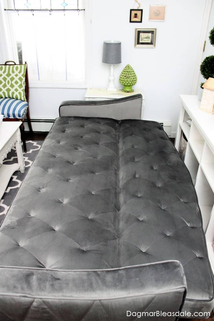 Sleeper sofa with a vintage look under $500, Novogratz Vintage Tufted Sleeper Sofa by DHP Furniture